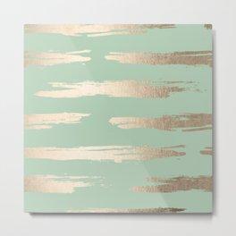 Simply Brushed Stripe White Gold Sands on Pastel Cactus Green Metal Print