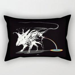 Rat and rainbow. White on dark on background - (Red eyes series) Rectangular Pillow