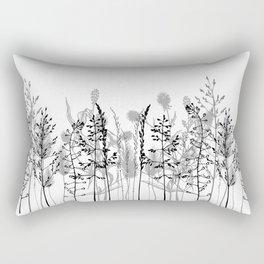 Wild flowers. Black and white Rectangular Pillow