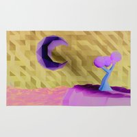 low poly Area & Throw Rugs featuring Low Poly Night by cnrgrn
