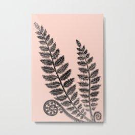 Black lace fern on blush peach background Metal Print