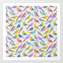 Dazzling Colored Bird Pattern Art Print