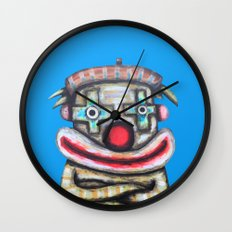 Clown with small advertisement Wall Clock