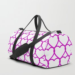 Wicker sparkling pattern of pink hearts on a light background. Duffle Bag