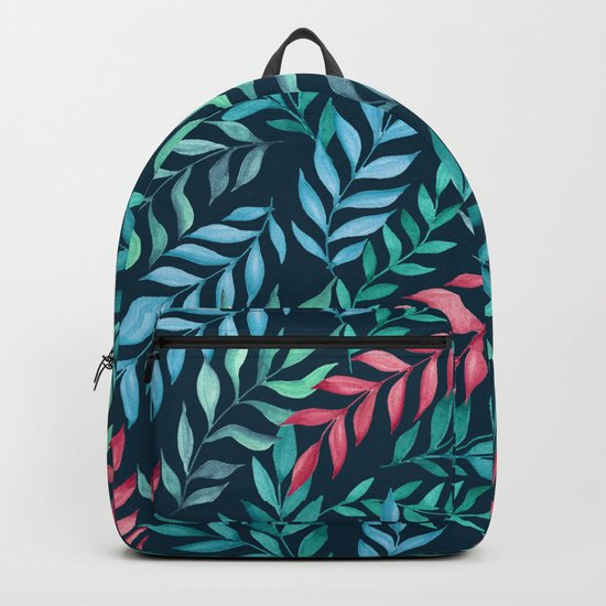 Blue and red branches. Watercolor Backpack