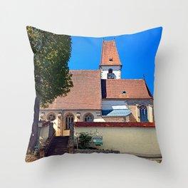 The village church of Hirschbach Throw Pillow