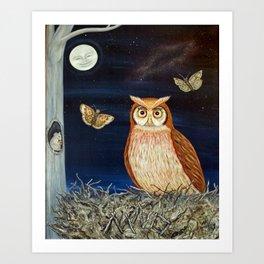 MNO Alphabet Owl Art Print