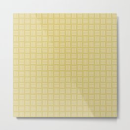 Basket Weave Mudcloth, White on Flax Metal Print