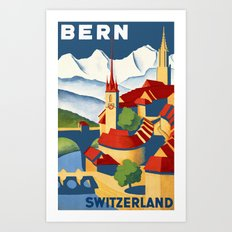 Vintage Bern Switzerland Travel Art Print