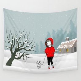 Snowy Christmas winter scene Wall Tapestry