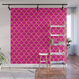 Mermaid Scales Pattern in Pink. Gold Scallops. Pink Wall Mural
