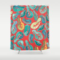 fig Shower Curtains featuring Fiddle Fig by Allison Holdridge