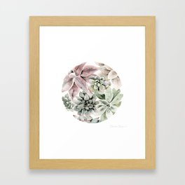 Circular Succulent Watercolor Framed Art Print