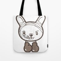 boxing Tote Bags featuring Boxing Bunny by pencilplus