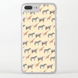 Animals, Elephant, Giraffe, Zebra, Zoo, Kids, Nursery, Minimal, Pattern, Modern art Clear iPhone Case