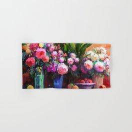 Roses and Aspidistra Plant Hand & Bath Towel