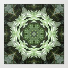 Tropical Twist - Green Leaves Kaleidoscope, Mandala Canvas Print