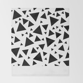 Memphis Milano style pattern with triangles, black and white triangle pattern print Throw Blanket