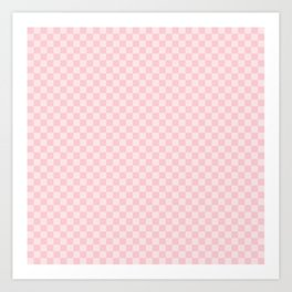 Light Millennial Pink Pastel Color Checkerboard Art Print