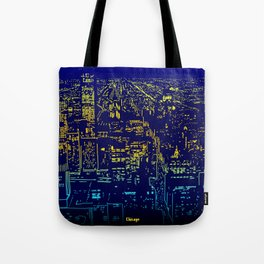 Chicago city lights at night Tote Bag