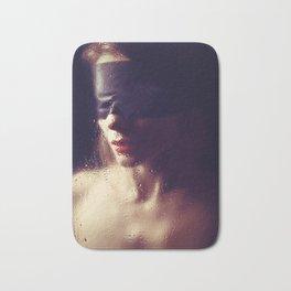 Beautiful woman Blindfolded Bath Mat