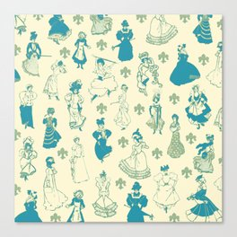 Vintage Ladies BLUE BEIGE / 18th and 19th century illustrations of women Canvas Print