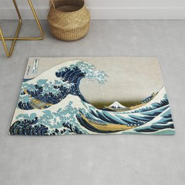 The great wave, famous Japanese artwork Rug