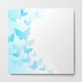 Butterfly Blue Butterflies Flying Off Metal Print