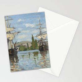 Claude Monet Ships Riding on the Seine at Rouen 18721873 Painting Stationery Cards