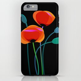 Stylized poppy flowers on black iPhone Case