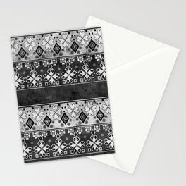 Ethnic black and gray ornament . Grunge . Stationery Cards