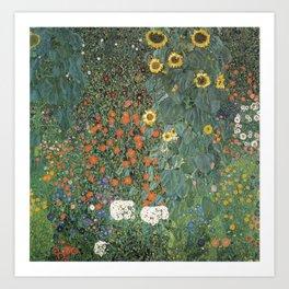 Gustav Klimt - Farm Garden with Sunflowers Art Print
