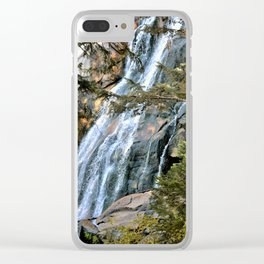 Mountain waterfall Clear iPhone Case