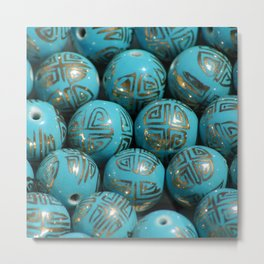 Chinese Porcelain Beads In Blue Metal Print