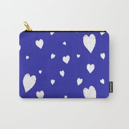 Hand-Drawn Hearts (White & Navy Blue Pattern) Carry-All Pouch