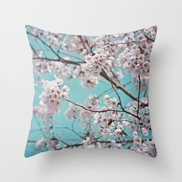 blossoms all over ~ color option teal Throw Pillow
