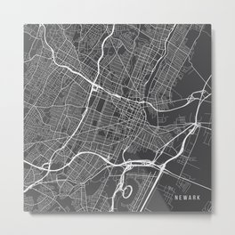 Newark Map, USA - Gray Metal Print