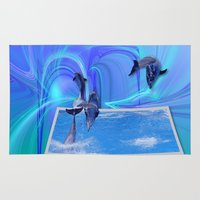 dolphins Area & Throw Rugs featuring Leaping Dolphins by Roger Wedegis