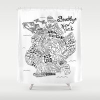 brooklyn Shower Curtains featuring Brooklyn Map by Claire Lordon