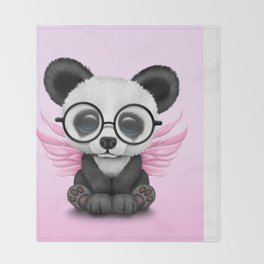 Cute Panda Cub with Fairy Wings and Glasses Pink Throw Blanket