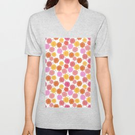 Hibiscus Hawaiian Flowers in Pinks and Corals on White Unisex V-Neck