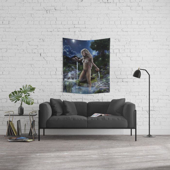 XVII. The Star Tarot Card Illustration (Color) Wall Tapestry