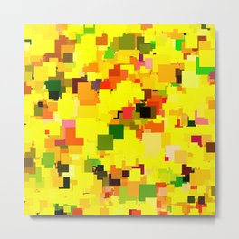 geometric square pattern pixel abstract background in yellow orange green red Metal Print