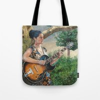 concert Tote Bags featuring Summer Concert by Robles Art