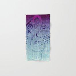 Aqua Purple Ombre Music Notes Hand & Bath Towel