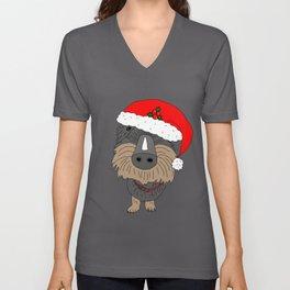 Hugo the Santa dog Unisex V-Neck