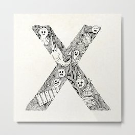 Hand drawn letter x background Metal Print