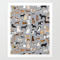 Mixed Dog lots of dogs dog lovers rescue dog art print pattern grey poodle shepherd akita corgi Art Print