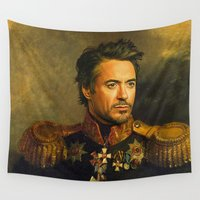 robert downey jr Wall Tapestries featuring Robert Downey Jr. - replaceface by replaceface