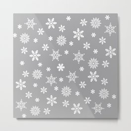 Snow Flurries-Light Gray Metal Print